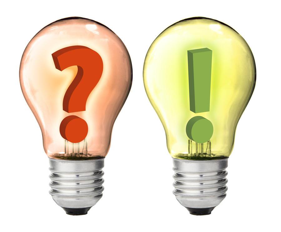 To lyspærer, en med et spørsmålstegn og den andre med et utropstegn inni seg.
