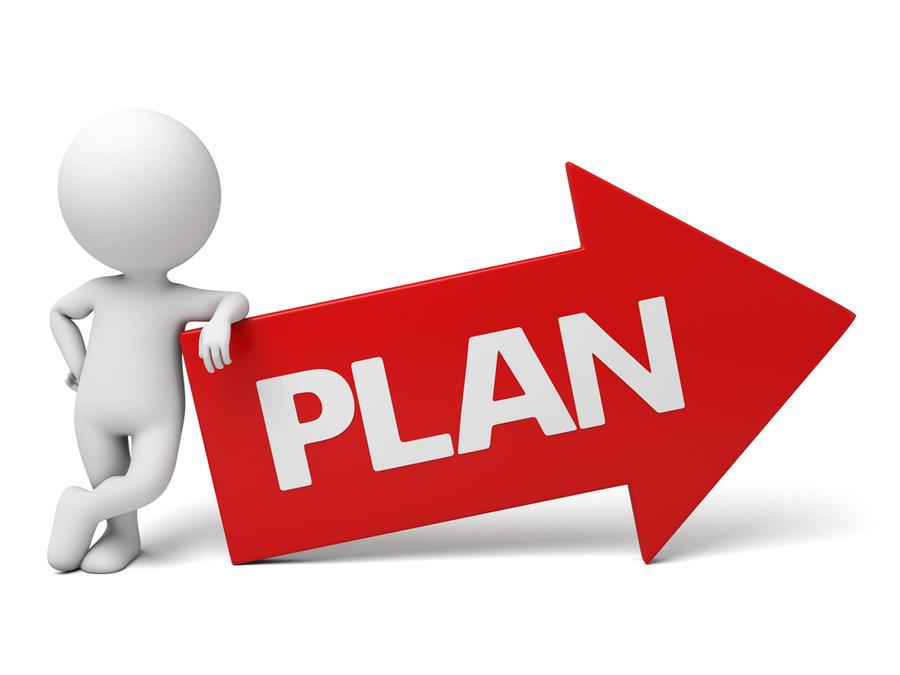 Animert figur lener seg på en pil med påskriften Plan.