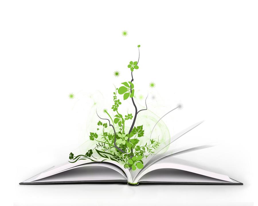 Grønne vekster gror opp fra en oppslått bok